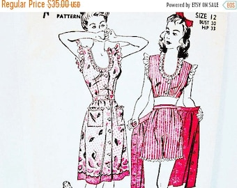 on SALE 25% Off 1940s Pattern Womens Playsuit Pattern Misses size 12 Womens Bra Top, Shorts, Short Romper, Wrap Skirt Pattern