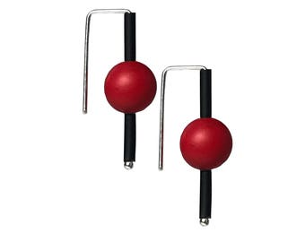 black and red earrings, minimalist modern sterling silver and rubber earrings designed by Frank Ideas