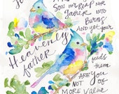 Bible verse art, bible verse art, bible verse artwork, bible verse art, bird verse, bird watercolor, matthew 6:26, do not worry,