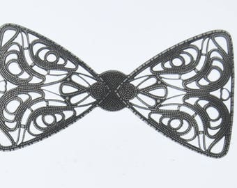 Brass stamping bow 75x40mm(3x1.6in) Antiqued Silver Filigree Bow, pk/2 04224AAS