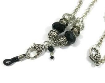 Eye Glass ID Badge Lanyard. Black, silver, clear, silver plated chain