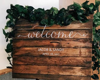 Elegant DIY Wedding Welcome Sign Names and Date -Wall Decal Custom Vinyl Stickers for Weddings, Wedding Signs, Chalkboard, Mirrors