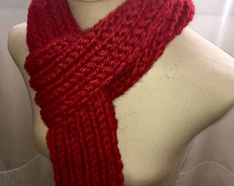 Chunky Ribbed Knitted Scarf- Garnet Red