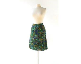 20% off sale Vintage 60s Skirt | Paisley Skirt | A Line Skirt | 25W XS