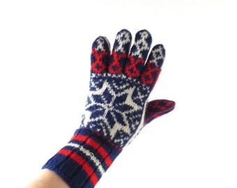 20% off sale Vintage Nordic Gloves | Selbu | Wool Gloves | Size L