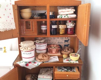 Miniature Dollhouse Hoosier Kitchen Cabinet filled with Handmade foods and accessories -1:12 scale