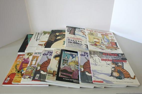 Vintage Lot 14 Calvin and Hobbes Comic Book Graphic Novels, Vintage Cartoon Paperback Books
