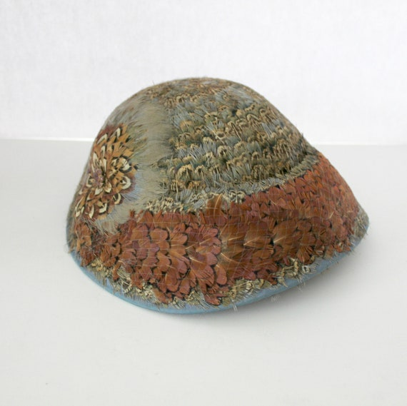 Antique Pheasant Feather Hat, 1920s with Netting and Rhinestones, Floral Design