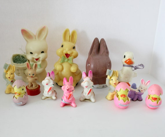 Lot 14 Vintage Easter Candy Holders, Peel Away Chocolates, Fanny Farmer Bunny Rabbit, Baby Chicks, Ducks