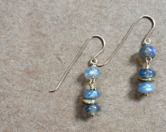 labradorite stacked earrings with hand formed ear wires. labradorite beaded earrings. modern and minimalist jewelry earrings