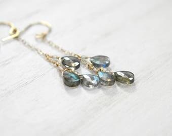 labradorite teardrop trio earrings. gold filled chain. labradorite dangle drop earrings. labradorite trio earrings on chain.  lab teardrop
