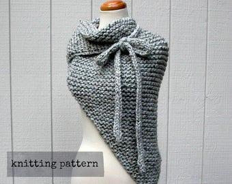 that's a wrap. easy knitting pattern . chunky knit shawl pattern . cape poncho pdf knit pattern . oversized triangle bandana scarf pattern