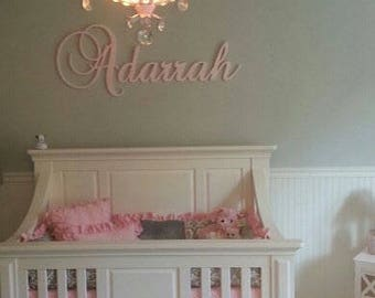 Wooden Name Glittered Connected Wood Name Boys and Girls Name Wall Letters