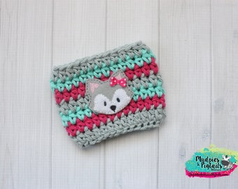 Crochet Coffee cup Cozy { Freesia Fox } gray, pink, aqua crochet, fox, yarn crochet, knit mug sweater, crochet animal, teen gift, starbucks