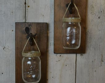 Hanging Mason Jar Wall Decor,  Set of 2 Country Decor, Farm House, Rustic Decorating, Candle Holder, Succulent Display, Set of Two