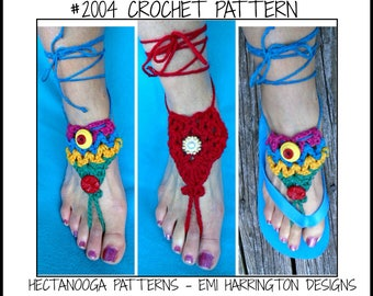BAREFOOT Sandals, Crochet PATTERN - Colorful Barefoot Sandals -wear on bare feet or with flip flops, #2004, one size fits all