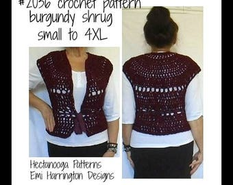CROCHET SHRUG PATTERN,  crochet patterns, Adult small to 4XL, plus size clothing, #2036, Easy top down, seamless sweater vest, women & teens