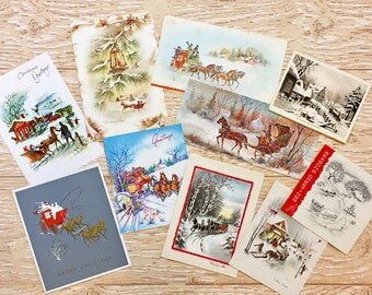 10 Vintage Christmas Cards with Winter Scenes, Midcentury Cards, 1950s-1960s Christmas Cards Snow Scenes #4