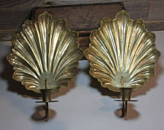Vintage Brass Wall Sconces- Shell Scalloped Candle Holders- Made in India- Sconce Pair Hollywood Regency- E4