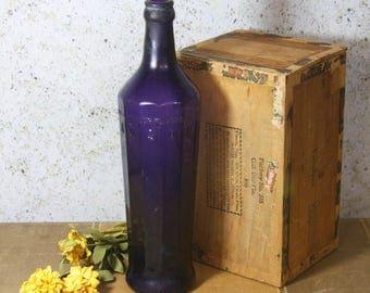 Large PURPLE BOTTLE- Dawson One Pint Antique Amethyst Glass- Rustic Decor Decorative Bottle- Primitive