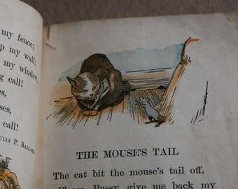 Vintage Primer BOOK- The Natural Method Readers- A First Reader- Copyright 1914 Asheville NC- Nursery Decor
