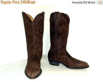 Brown on Brown Cowboy boots - size 10.5 D or cowgirl size 12