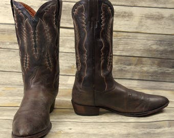 Mens 12 D Cowboy Boots Dan Post Distressed Brown Leather Western Country Shoes