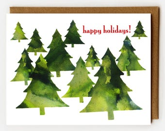 Happy Holidays Card, Atheist Christmas Card, Christmas Trees, Non Religious Winter Holidays, Xmas Card, Minimalist Holiday,Red and Green