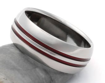 Thin Red Line Titanium Ring - Firefighters Ring - Red Stripes - r1