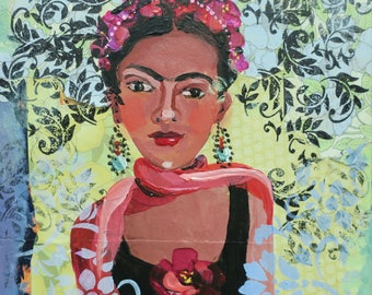 Frida Kahlo portrait, lady collage, painting and collage, decorative art, stencil art, home decor, mexican artist, cinco de mayo, 8x8 inch