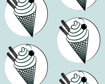 Ice Cream Cones Fabric - Ice! By Gasponce - Sweet Ice Cream Retro Kitchen Decor  Cotton Fabric By The Yard With Spoonflower