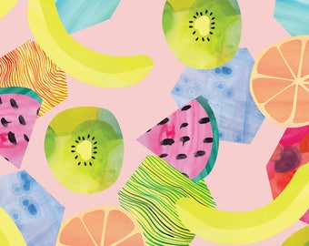 Whimsical Watercolor Fruit Salad Fabric - Fruit Salad By Ivydoodlestudio - Summer Tropical Cotton Fabric by the Yard with Spoonflower