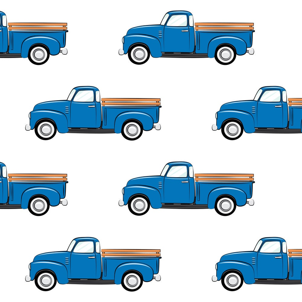 Blue truck fabric vintage trucks on white by for Little blue truck fabric