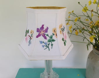 """Embroidery Floral Lamp Shade, Hex Bell Lampshade, Pretty colors, 5""""t x 8""""b x 6"""" high, clip top, Cottage Decor, English Vintage Needlework"""