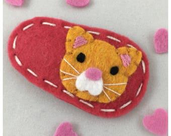 Felt Hair Clip Valentine Cat