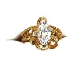 SALE Clear CZ Engagement Ring Vintage Modernist Brutalist Cubic Zirconia 6.75
