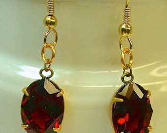 Vintage Red Swarovski Faceted Crystal Earrings Cabochon Bead Gold Setting Dangle Drop- GIFT WRAPPED