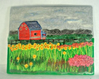 Needle Felt Painting, Needle Felt Art, Sunflower Art, Fiber Art, Felted Painting, Farm Art