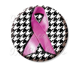"""25% OFF - Breast Cancer Awareness Houndstooth Pink Ribbon - Pocket Mirror, Magnet or Pinback Button - Fundraiser, Events- 2.25"""" - MR470"""