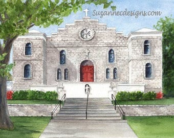 GICLEE PRINT of St Pauls Catholic Church, Pocahontas AR, from an original watercolor by Suzanne Churchill. Perfect wedding gift