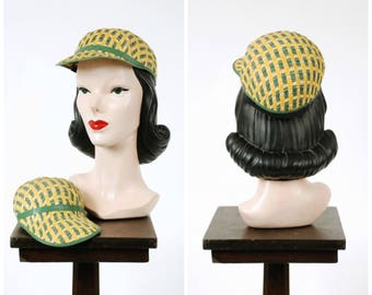 Vintage 1940s Hat - Sporty Tan Woven Straw 40s Cap with Matching Child's Cap in Green, White and Yellow