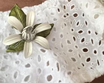 Vintage 1960s White Gardenia Enamel Flower Brooch Pin Wedding