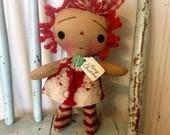 Merry Christmas Raggedy Ann doll - Raggedy Annie - Raggedy Ann - holiday doll - santa doll - merry Christmas - doll - Ragdoll -