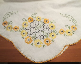 "Vintage Tablecloth / Vintage Cotton TAblecloth / Embroidered floral design / yellow orange embroidered flowers / 42 x 44"" / cardtable size"