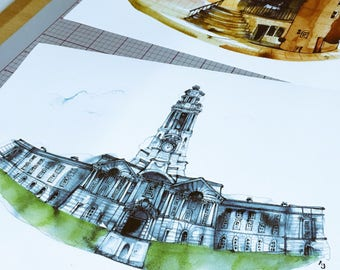 Stockport Town Hall quality art prints by Andrea Joseph
