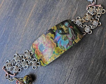 "Artisan salvaged tin bracelet by fancifuldevices- "" Aureate"""