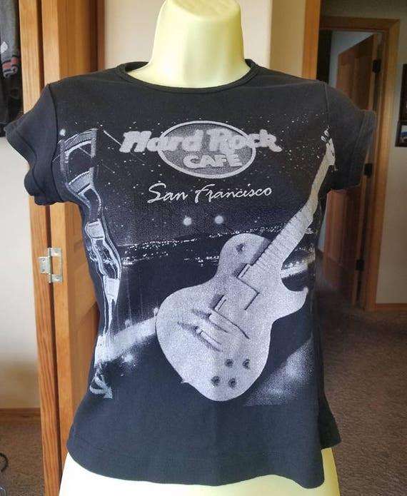 womens black Hard Rock Cafe t shirt sanfrancisco womens top silver guitar rock t shirt size small graphics t shirts