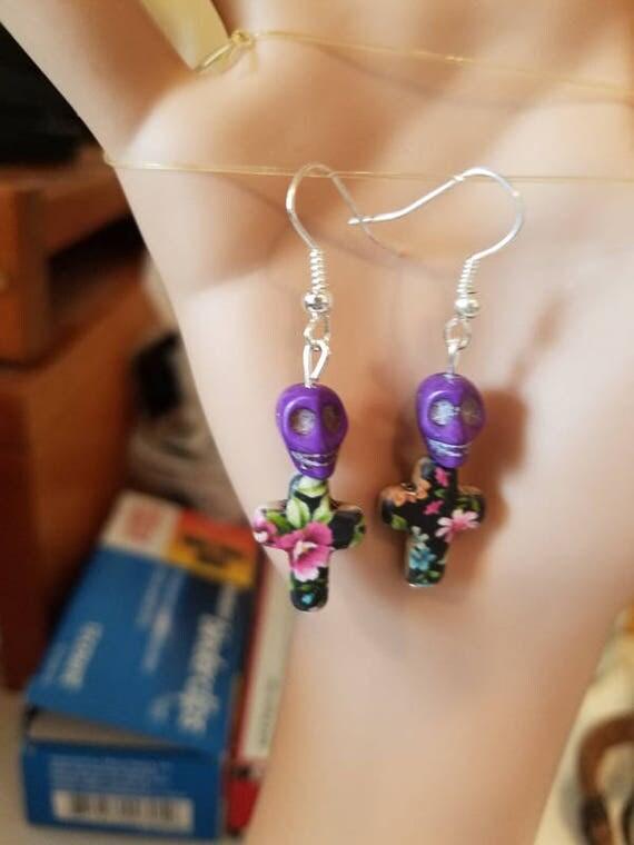 handmade skull earrings purple flower cross earrings charm dangles floral earrings goth punk day of the dead jewelry