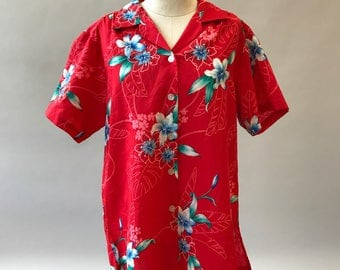 Vintage 1980s Hawaiian Floral Tiki Blouse Large / Womens Floral Top Large