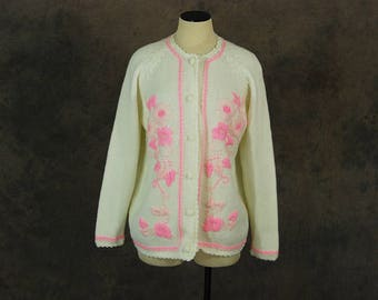 vintage 60s Cardigan - 1960s Hot Pink Embroidered Sweater Floral Cardigan SZ XL